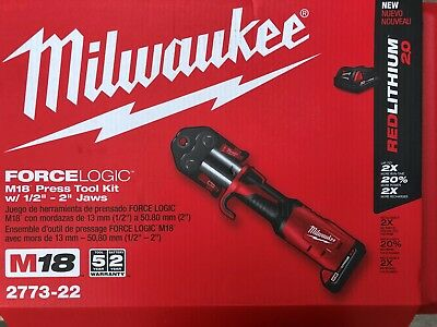 """Milwaukee 2773-22 M18 Force Logic Press Tool Kit 1/2-2"""" jaws New in case"""