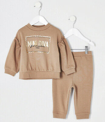 GIRLS KIDS 2 PIECE MINI DIVA LOUNGE TRACKSUIT TOP JOGGER SET AGE 2-3yrs RRP £22