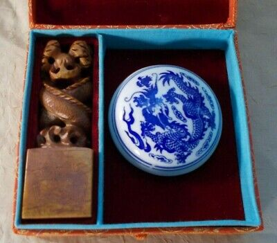 Vintage Large Stone Carved Dragons Chop Yin Zhang Seal With Wax & Box (B10)