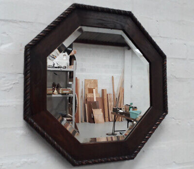 Arts And Crafts Oak Twisted Rope Framed Octagonal Bevelled Edge Wall Mirror