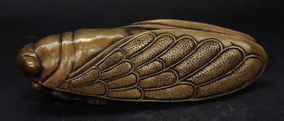 Collectible Chinese Brass Carved Lucky Cicada Statuej
