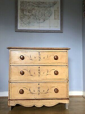 Antique Early-Mid 19th Century Regency Scrumbled Glaze Hand Painted Pine Drawers
