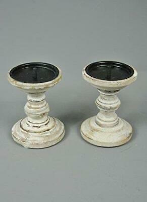 Candle stick Holders White washed Wooden set of two Candlestick Holders