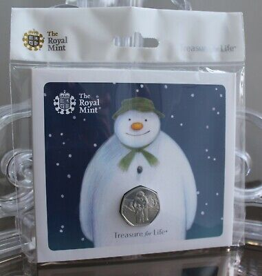 2019 The Snowman 50p Fifty Pence BU - BUnc Royal Mint Coin Pack - New - Sealed