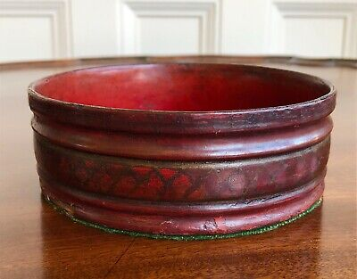 An Antique George III Papier Mache Wine Coaster Red Lacquer and Gilt Decoration.
