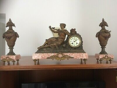 French mantel clock with Garnatures & statute by Charmeuse superb condition