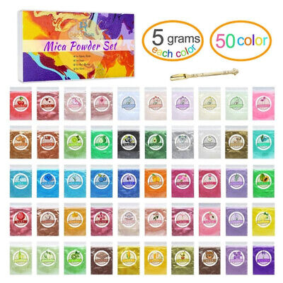 Assorted Colours Mica Powder for Colouring Epoxy Resin Slime Soap 50 Colors