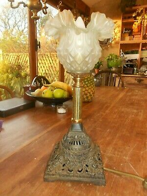 Antique Pineapple Glass Shade Cast Iron & Brass Table Lamp