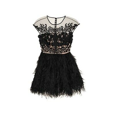 Prabal Gurung 2013 Black Beaded Silk Organza Ostrich Feather Top Mini Dress $8k