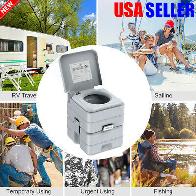 5.3 Gallon 20L Portable Toilet Flush Travel Camping In / Outdoor Potty Commode