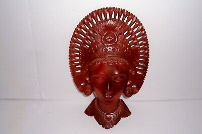 Vintage Hand Carved Bali Wooden Goddess Face with Head Dress Headdress