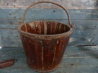 antique primitive early 19th century hand forged iron & wood stave bucket pail
