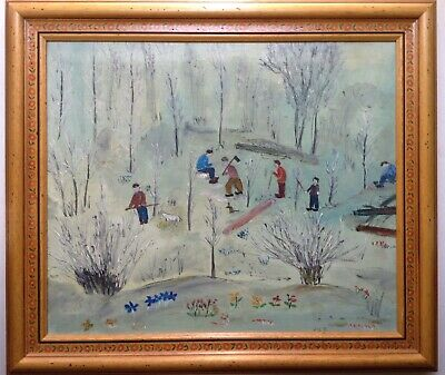 Beautiful Painting Antique Art Naif Landscape the Woodsmen Oil Canvas Signed