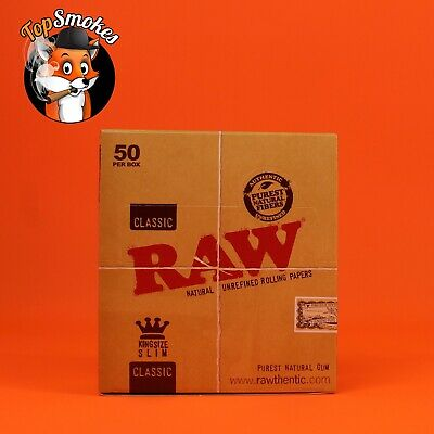 50 Pack 1 Box Raw Classic King Size Slim Natural Rolling Papers Spain Authentic