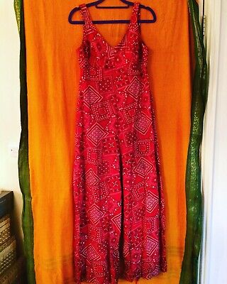 Original 1970's Vintage Red Jumpsuit 8 10