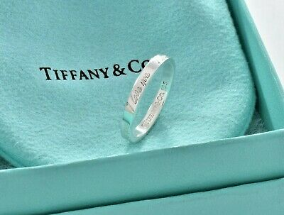 Tiffany & Co Sterling Silver I Love You Notes Narrow Band Ring Size 6.5 w/ Pouch