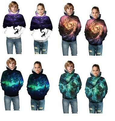 Childrens Kids Girls Boys Unisex Fashion Casual Galaxy Sweater Sweatshirt Hoodie