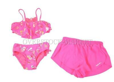 NEW! GIRLS LIMITED TOO 2 & 3 PIECE UV PROTECTION SWIM SUIT! size 5/6 pink