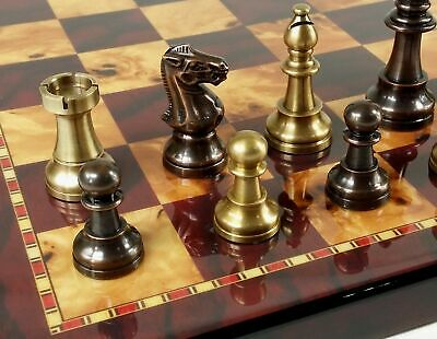 BRASS METAL Antique Bronze Color Staunton French Chess Set 18 Cherry Color Board