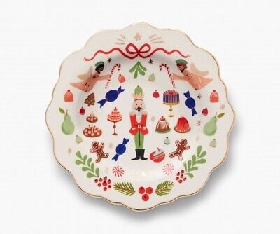 Anthropologie Rifle Paper Co Nutcracker Christmas Dessert Plate Gold Rim NEW2019