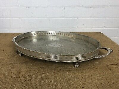 "Vintage Silver Plate Gallery Serving Tray Sheffield Made 22"" Neoclassical Style"