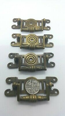 4 small antique arts & crafts cast brass pull beaurau drawer pulls rd date1882