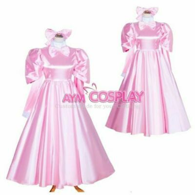 Lockable baby pink Sissy boy Maid Satin long Dress CD/TV Tailor-Made