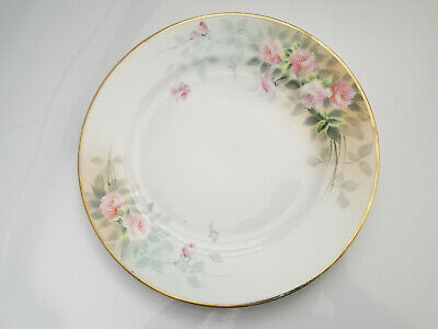 Antique Hand Painted Nippon Dinner Plate Pink Roses Gold Trim Japan