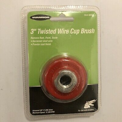 "Warrior 3"" Twisted Wire Cup Brush For Removing Rust Paint Scale Hardened Steel"