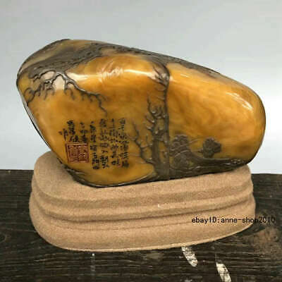 Natural China Tianhuang Shoushan Stone Carving old man Pine seal stamp ALLL
