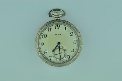 Vintage 12 Size Elgin Open Face Pocket Watch From 1925 Grade 303 Keeping Time