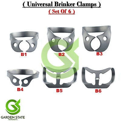 6Pcs Universal Rubber Dam Brinker Clamps Lower-Upper Anterior Clamp B1 to B6 Kit