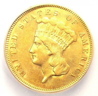 1874 Three Dollar Indian Gold Coin $3 - Certified ICG AU58 - $1,250 Value!