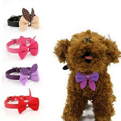 Lovely Pet Cat Dog Adjustable PU Leather Bowknot Cat Necklace Puppy Collar LE