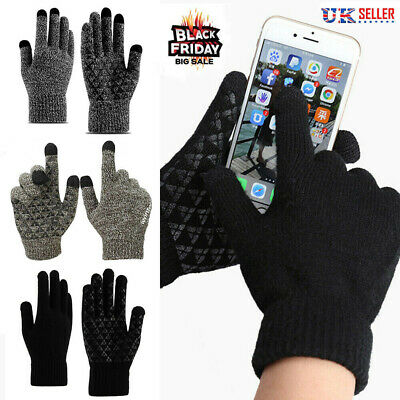 Winter Warm Touch Screen Gloves Windproof For Women Men Knit Wool Lined Texting