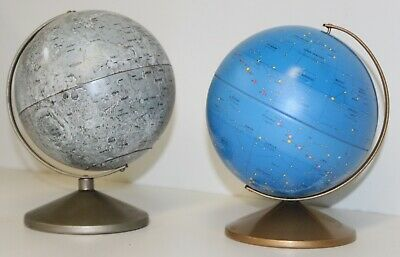2 1970s Replogle  Metal Globes MOON CELESTIAL on Stands Tin Litho free shipping