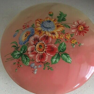 Vintage Opaline Large Trinket Box in Pink with Floral Design on the Lid