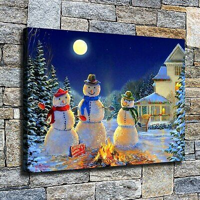 "12""x16""Christmas snowman HD Canvas print Home decor Wall art paintings pictures"