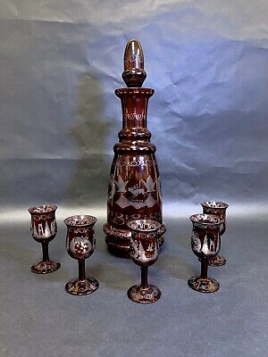 Old Vintage Czech Bohemian Glass Ruby Red Cut to Clear Decanter Set Deer Bird