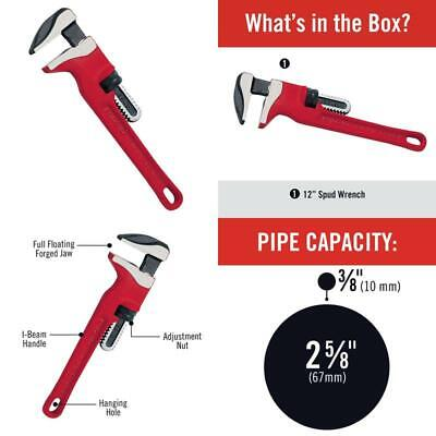 12 In. Spud Wrench Ergonomic Handle Extremely Tight Spaces 3 8 In. To 2 5 8 In.