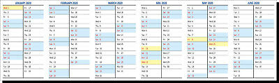 6 MONTH COLOUR CODED 2020 WALL PLANNER  (Jan - June) or (July - Dec)