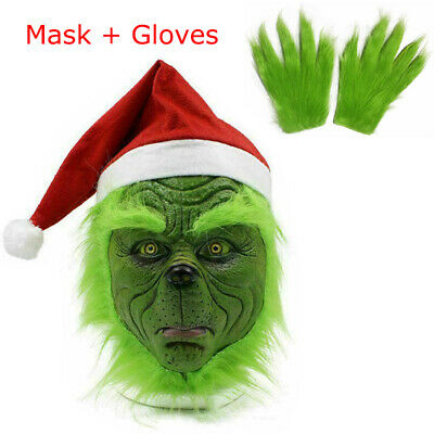 Adult The Grinch Gloves Head Latex Mask Wig + Christmas Hat Monster Costume Prop