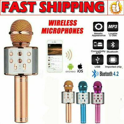 Q9 Wireless Bluetooth Karaoke Microphone Speaker Handheld Mic USB Player DM