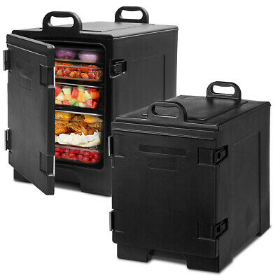 2 Pack End-Loading Insulated Food Pan Carrier Hot & Cold 5 Pan Capacity w/Handle