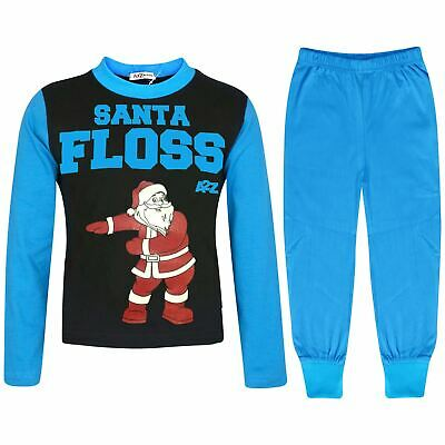 Kids Girls Boys Pyjamas Trendy Santa Floss Blue Christmas Loungewear Pjs Outfits