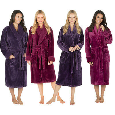 Ladies Womens Flannel & Waffle Dressing Gown Fleece Shawl Collar Robe Nightwear