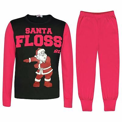 Kids Girls Boys Pyjamas Trendy Santa Floss Pink Christmas Loungewear Pjs Outfits