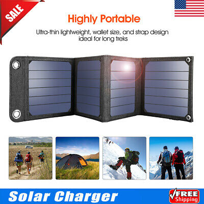 Suaoki 5V 14W Solar Panel Portable Battery Charger For Phone Camping w/USB Cable