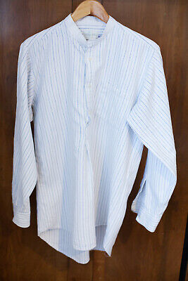 "Darcy clothing VTG style 30s/40s era collarless work shirt blue stripe 16""/42"""