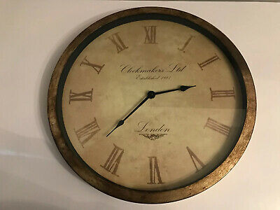 Large vintage modern Clockmakers LTD 1927 London Wall Clock Glass Front Working